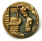 BB Antique Brass Button Woman Drawing Water from a Well - 7/8