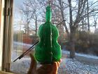 PONTILED PRETTY TEAL GREEN VIOLIN BOTTLE WITH RARE ORIGINAL BOW STAND