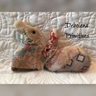 Pair 2 Grungy Primitive Quilt Easter Bunnies Rusty Eyes Ornie Bowl Fillers