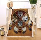 80x60 Native American Wolves Dreamcatcher Cotton Fur Throw Blanket Queen