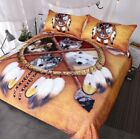 Queen 3pc Native American Indian Wolves Dreamcatcher Duvet Set