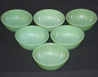 SIX (6) FIRE-KING RESTAURANT WARE JADEITE G300 ~ 5 5/8 ~ 15oz. BEADED BOWLS EXC
