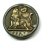 BB Charming Antique Brass Button Serenading Cats Scarce! 9/16