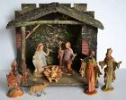 7 Vintage NATIVITY FIGURES w Old Stable Holy Family Wisemen Sheep Plastic