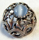 LOVELY ANTIQUE 1920'S SILVER FILIGREE BUTTON w/SKY BLUE GLASS CAT'S EYE JEWEL