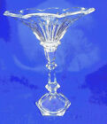 CLEAR PRESSED GLASS COMPOTE ON PEDESTAL 11 1/4