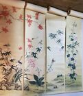 Rare Antique Chinese Hand-Painted Wallpaper Six Panels Flowers