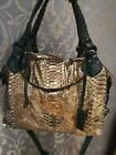 Authentic PAURIC SWEENEY PYTHON Copper Large Leather Shoulder Bag