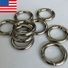 2 50Pcs Mini Round Silver Circle Carabiner Spring Snap Clip Hook Keychain US