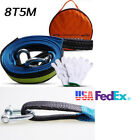 Heavy Duty Towing Kit 8 Ton 16ft Tow Strap Rope U Hooks Gloves Capacity 7 8 Tons
