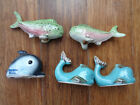 Vtg 2 Whale 2 pink Fish 1 Dolphin Salt Pepper Shakers 2 Pair Blue Pink Japan