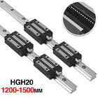 2pcs Hgh20 1200-1500mm Linear Slide Guide Shaft Rail4pcs Hgh20uu Block Us Stock