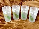 VTG. MCM Frosted Glass Tumblers Drinking Glasses w Green + White Leaves Set of 4