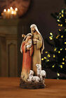 YC475 Christmas Nativity Figure Holy Family with Sheep Painted Resin 12 inch
