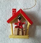 Vintage Wooden Toy Soldier Sitting Inside Red Yellow House Christmas Ornament