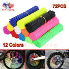 72PCS Spoke Skins Covers Motocross Dirt Bike Wheel Rim Guard Protector Wraps New