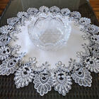 24 Doily Silver Gray Lace Antique White Ivory Dresser Scarf Table Topper Round
