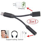 Type C to 35mm Jack AUX Audio Cable Charging Cable Headphone Adapter 3 In1 USB