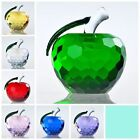 3D Apple Figurine Faceted Crystal Glass Paperweight Wedding Gift Decor 60mm 40mm