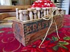 Antique Wood Dove Tail Cheese Box 68 VTG Clothes Pins Primitive Laundry AAFA