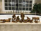 RARE 7 Demetz Italy Wood Carved Nativity Set Anri style 12 Piece