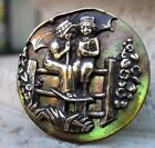 Beautiful Antique Brass BOY READING To GIRL Sitting ON FENCE Mop SHELL Button