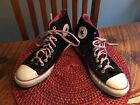 Pair CHUCK TAYLOR CONVERSE ALL STAR HIGH TOP SNEAKERS Black Pink Sz8 Faux Suede