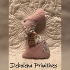 Handmade Pink Antique Quilt Easter Bunny Pillow Tag: Primitive Blessings