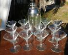 Vintage Mid Century Atomic Starburst Etched Cocktail MARTINI 12 Glasses + Shaker