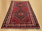 Authentic  Hand Knotted Vintage Persian Sheraz Wool Area Rug 5 x 3 FT (6617)