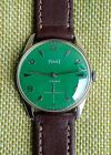 PIAGET GREEN DIAL NICKEL PLATED CASE 1945 Free shipping!!!!