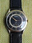 PIAGET BLACK DIAL NICKEL PLATED CASE 1940 Free shipping!!!!