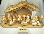Complete Large German Carved DOLFI Nativity Set  Creche 16pcs AURORA Style