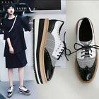Womens Brogue Lace Up Platform Wedge Heels Creeper Shoes Oxfords Vintage Shoes
