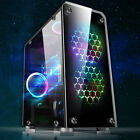 Micro ATX PC Gaming Case Tempered Glass USB 30 ITX Computer 4 LED Fans Mount