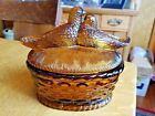 Vintage Amber Love Birds Covered Candy Dish