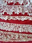 6 net LACE Battenbg antique hand made needle French Brussels Princess net tulle