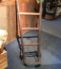 Vintage Small Wooden Oak and Hand Forged Hand Cart/tTruck with Cast Iron Wheels