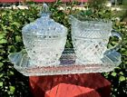 Anchor Hocking Wexford Creamer and Sugar Set with Cranberry Underplate, EUC