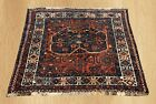 Authentic Hand Knotted Vintage Persian Sheraz Wool Area Rug 3 x 3 FT (6274)