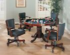 CHERRY 3 in 1 GAME POKER CARD BUMPER POOL DINING TABLE w 4 SWIVEL CHAIRS SET