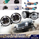 4x LED Hi Lo Beam Headlight Halo Angle Eyes Fog Light for Jeep Wrangler JK TJ YJ