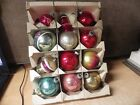 LOT OF 12 VINTAGE SHINY BRITE CHRISTMAS ORNAMENTS HANDPAINTED BELLS MORE
