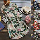 US Women Rolled Up Long Sleeve Floral Tunic Tops T Shirt Summer Beach Mini Dress