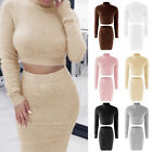 Winter Womens Sweater Dress 2Pcs Set Bodycon Crop Top Skirt Party Clubwear US