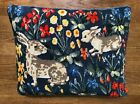BOLD BRIGHT  COLORFUL RABBITS  FLOWERS VINTAGE NEEDLEPOINT PILLOW