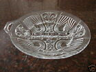 Clear Glass VINTAGE Divided Relish Condiment Dish with Tab Handle