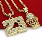 14K Gold Plated Hip Hop Basketball  23 Pendant w 4mm 24 Rope Chain