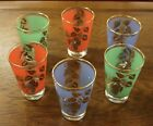 6 Vintage Orange Green Blue Gold Grape Leaf Design Barware Juice Glasses