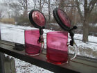 PAIR OF ANTIQUE CRANBERRY GLASS 4BEER STEINS PEWTER  GLASS LIDS APPLIED HANDLE
